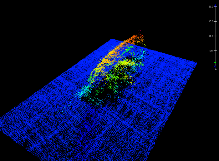 Multibeam echo sounder image of the F/V Destination, seen here lying on its port side, with the house in the foreground, bow to the left, and stern to the right.