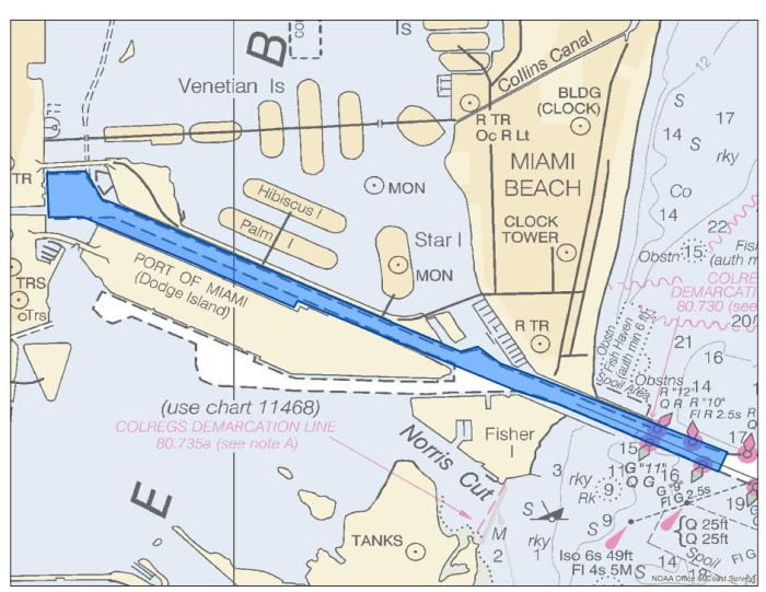 Location of Fisher Island Channel where the MIST team is surveying in response to Hurricane Irma.