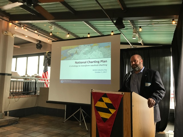 John Nyberg, chief of the Marine Chart Division, presents the National Charting Plan at NOAA Industry Day 2017.