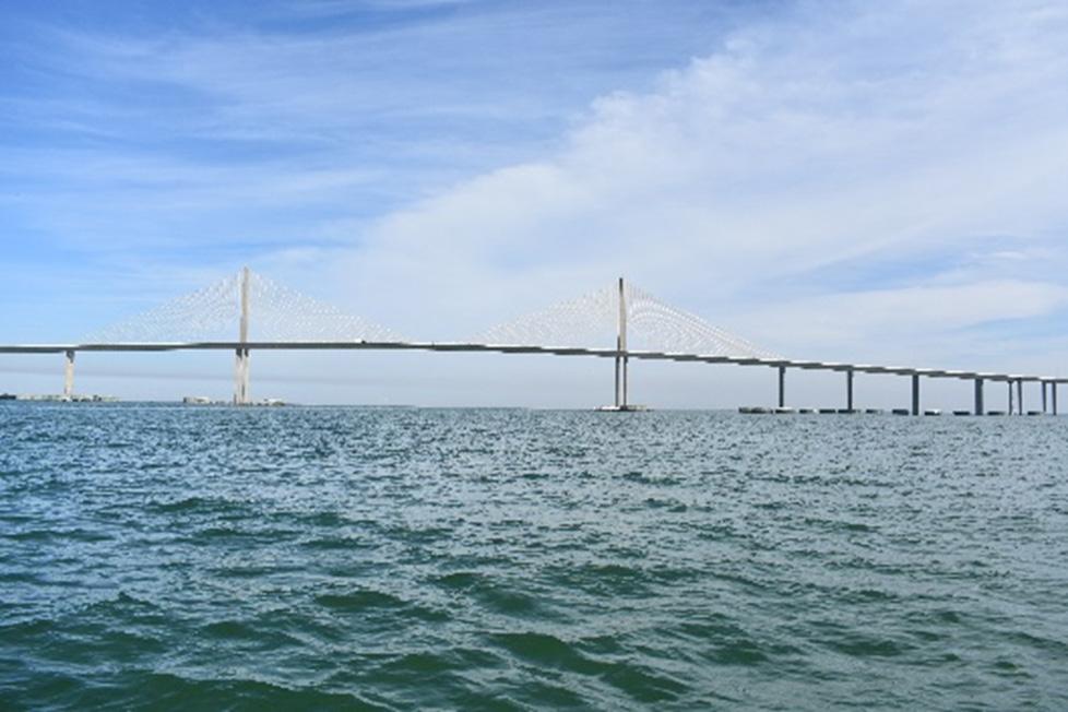 The center spans of the Sunshine Skyway Bridge