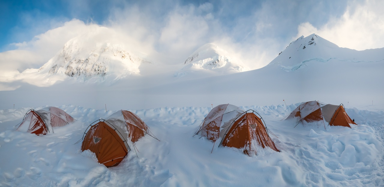 The high camp, at an elevation of 10,400 feet on the Grand Plateau Glacier.