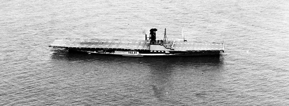 Aerial image of the USS Wolverine take in 1943.