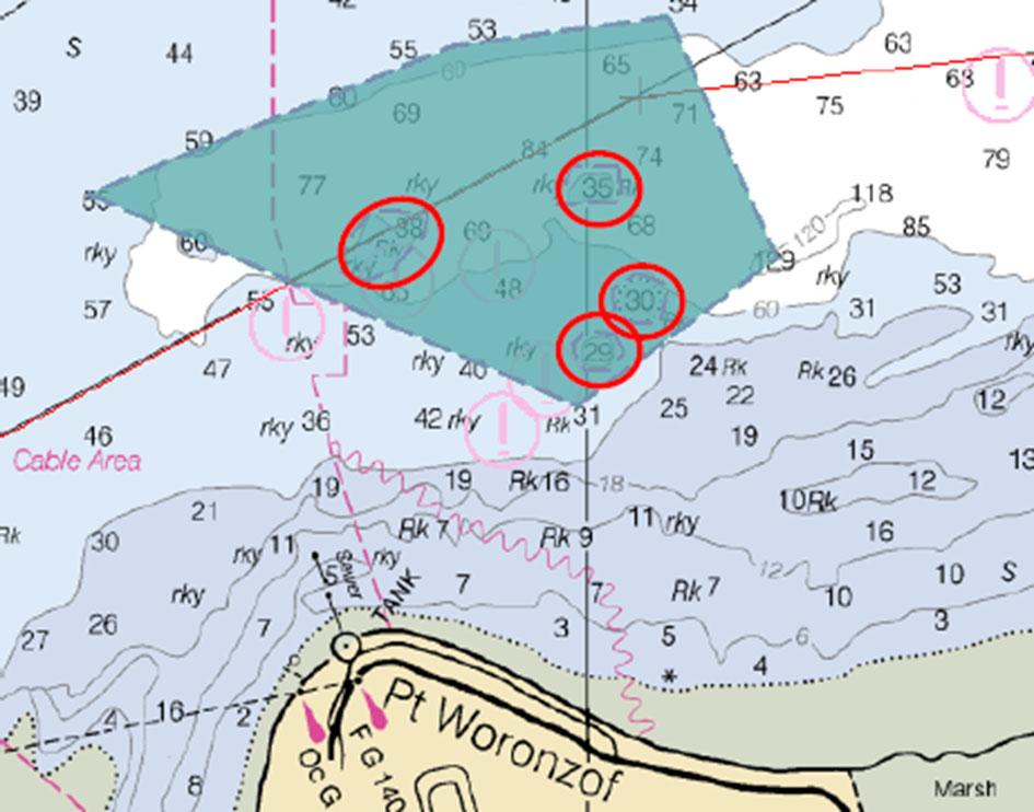 Example of the survey plan off Point Woronzof, outlining area and identified hazards to be verified during survey operations.
