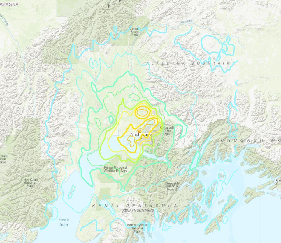 Map of earthquake in Anchorage, Alaska, November 30, 2018.