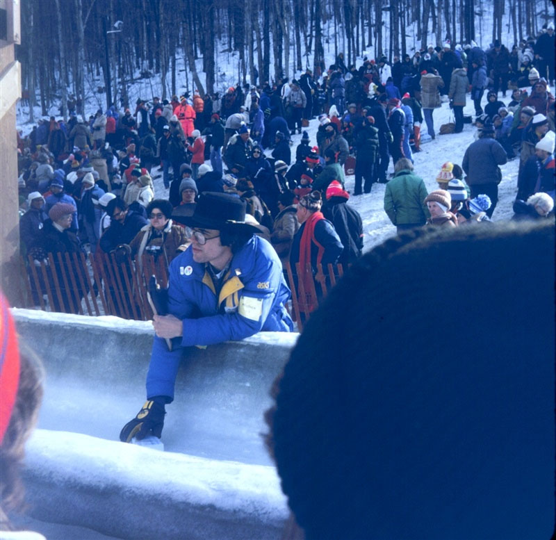 Meteorologist Jack May taking the ice temperature of the bobsled/luge track prior to the start of competition.