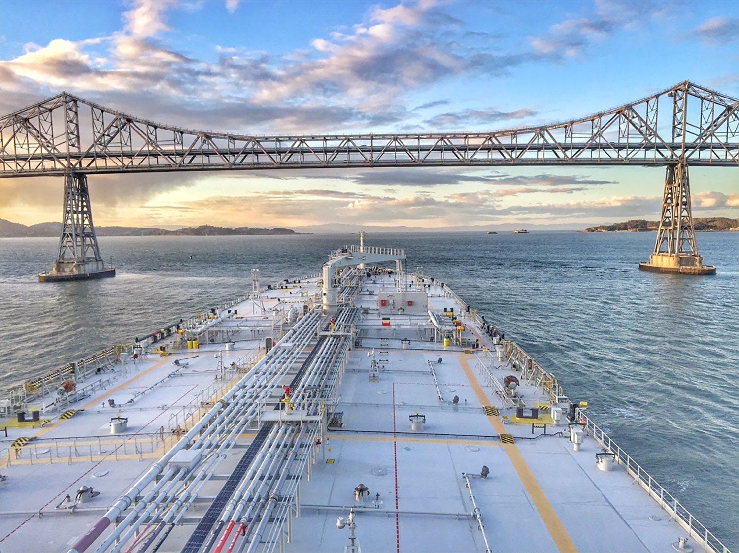Tanker heading west and approaching the Richmond–San Rafael Bridge and Pinole Shoal Channel.
