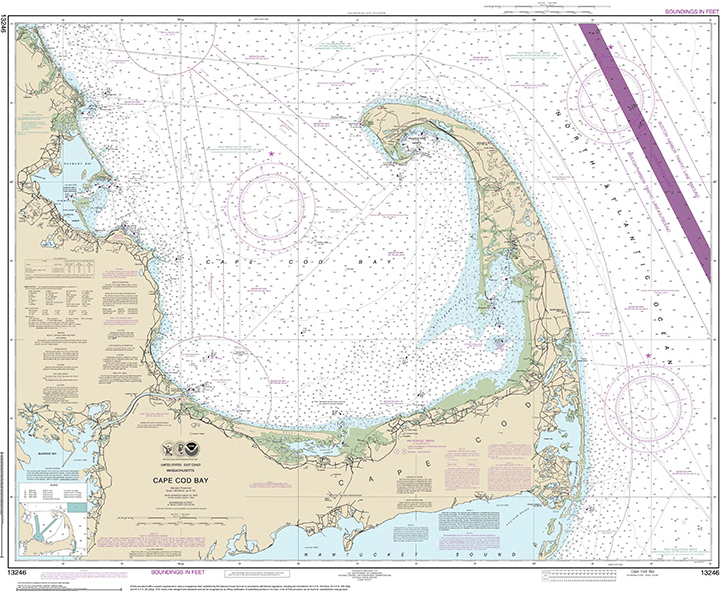 Traditional raster paper nautical chart 13246 (1:80,000) of the Cape Cod, Massachusetts, region.