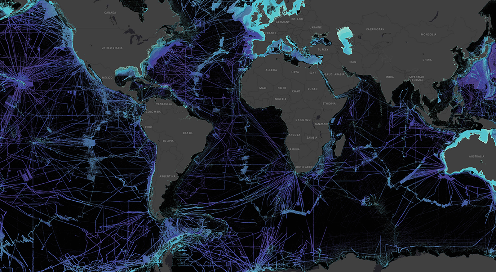A global view of mapped and unmapped portions of the world ocean.