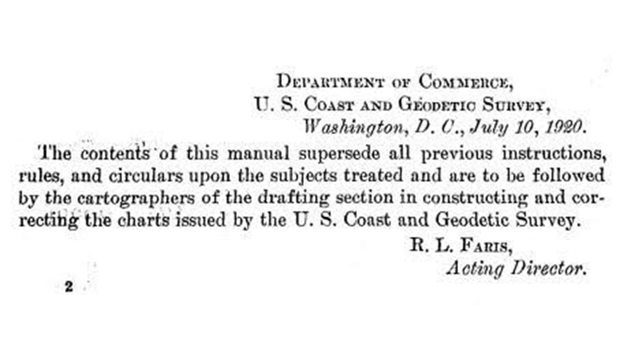 Forward from the first Coast Survey Nautical Chart Manual published in 1920.