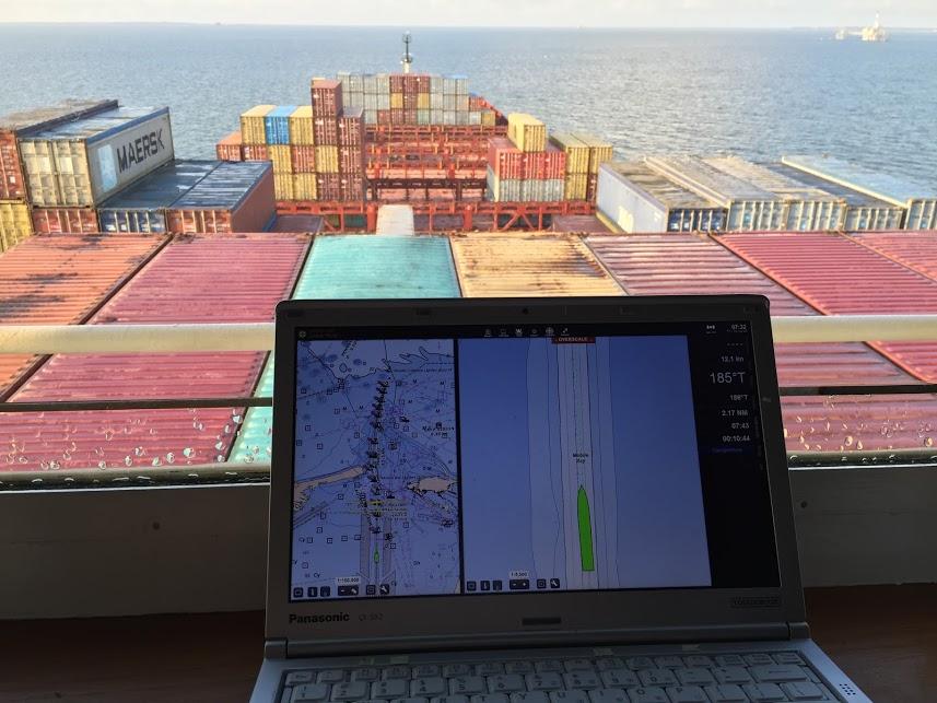 portable pilot unit on the bridge of a ship