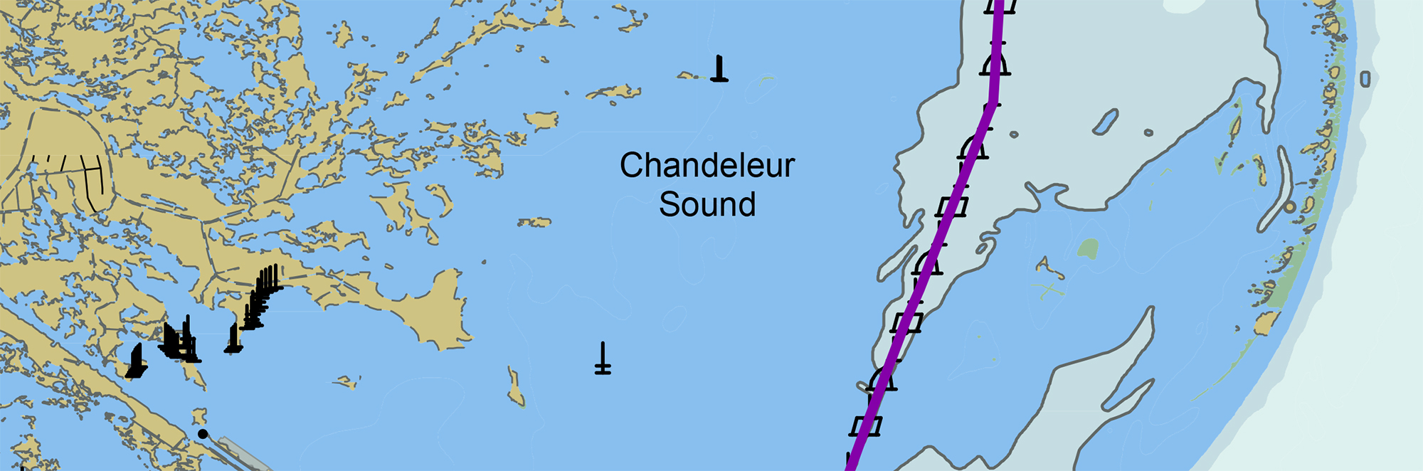 Portion of Chandeleur Sound Gulf Intracoastal Waterway alternate route.