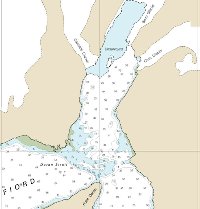 Nautical chart of unsurveyed waters at the head of Barry Arm