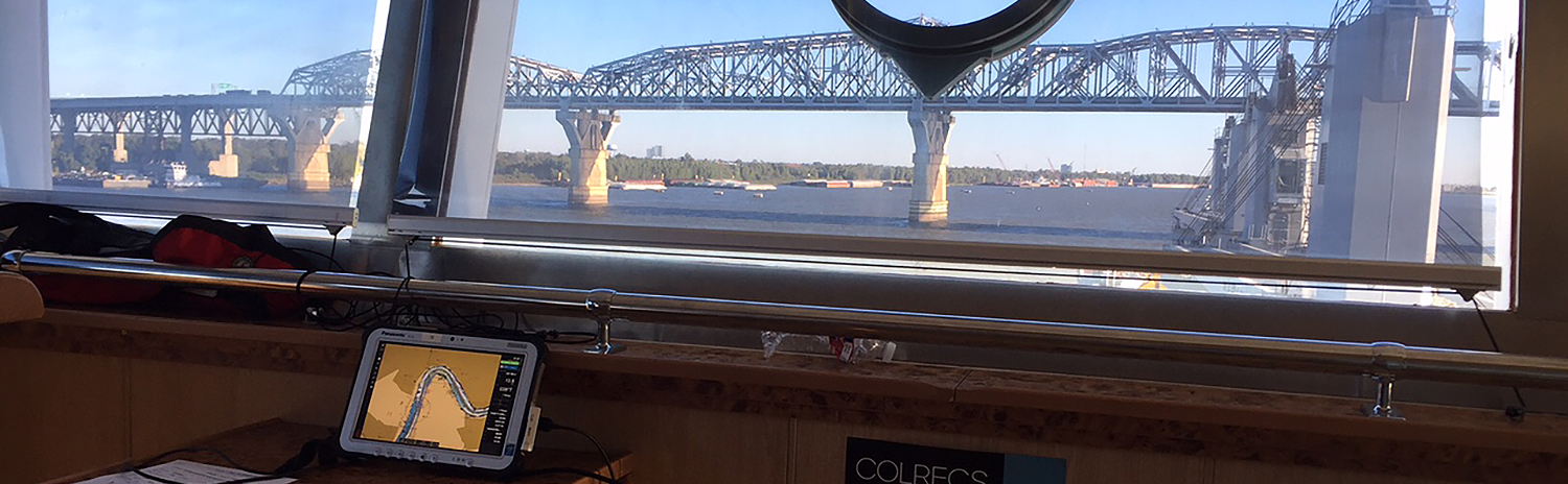 NOAA ENC visible on a portable tablet on the bridge of a ship while navigating on the Mississippi River.